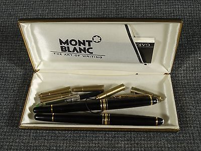 Set of 2 Montblanc Meisterstuck Black Ballpoint and Fountain Pens with box