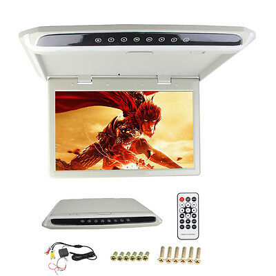 "15.6"" LED Car Flip down Overhead Roof Mount Monitor 1080P HDMI SD USB FM Player"