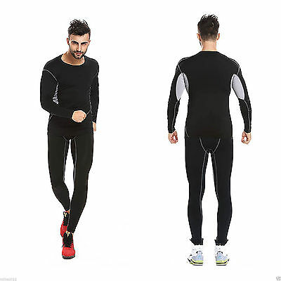Men Sports Long Sleeve Compression Base Layer Tight Skin Fit Gym Shirt Top Pants