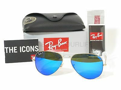 New!!!! Ray-Ban Rb 3025 112/4L 58-14Mm  Large Aviator Polarized Flash Blue Lens