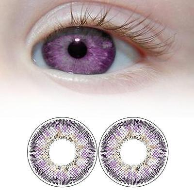 1 Pair Contact Lenses Color Soft Big Eye UV Protection Cosmetic Lens Purple AH