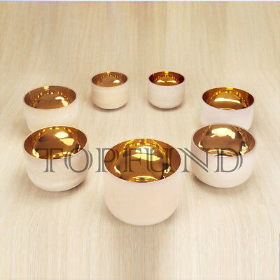 "Pure Gold Chakra Tuned Set of 7 Frosted  Quartz Crystal Singing Bowls 8""-12"""
