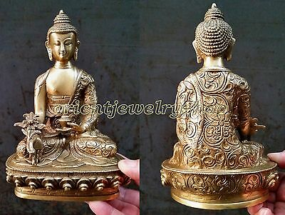 Tibet antique excellent old bronze carved statue Buddha