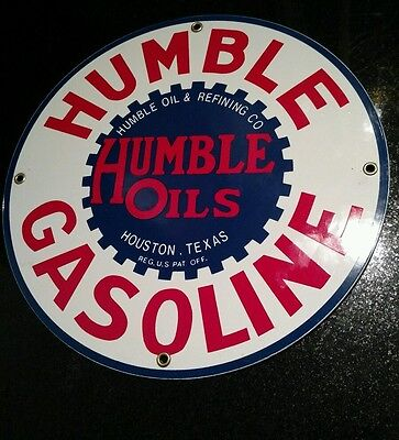 Humble Gasoline Oil Gas Porcelain Advertising Sign