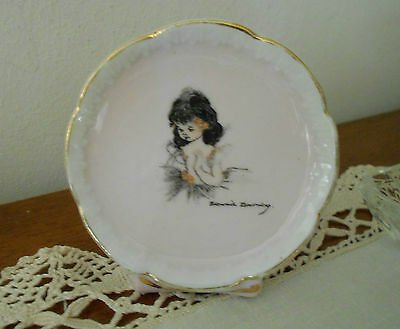 Vintage Brownie Downing Miniature Plate On Stand Ballerina Design Signed C1950