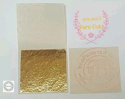 PURE 24K GOLD LEAF SHEET BOOK OF 50,FOOD GRADE- EDIBLE,DECORATING,ART 3.5x3.5cm