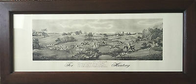 VERY GOOD PRINT ENGRAVING FOX HUNT HORSES EQUESTRIAN COUNTRY FRAMED 19th CENTURY