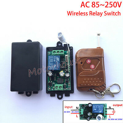 AC 110V 220V 240V Wireless RF Remote Control 10A Relay Switch Momentary On/off