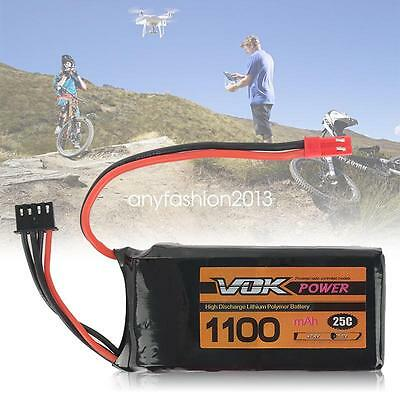 11.1V 3S 1100mAh 25C Lipo Battery Pack Universal For RC Racing Drone
