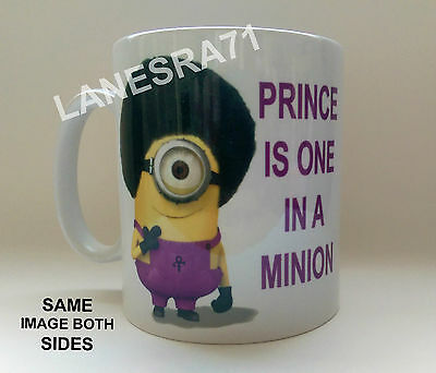 """**NEW** PRINCE """" ONE IN A MINION """" White Coffee Mug / Cup"""