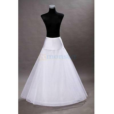 1 Hoop 3 Layer Bridal Petticoat Crinoline Long Wedding Dress Underskirt White