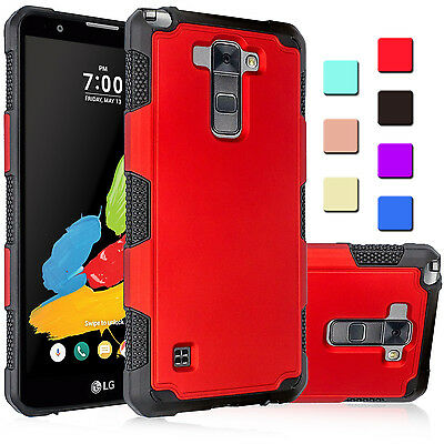 For LG Stylo 2 LTE / L82VL Hybrid Rugged Impact Armor Hard Protective Case Cover