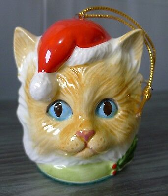 Ceramic 3D Cat Head Ornament Blue Eyed Ginger With Santa Hat & Holly HTF