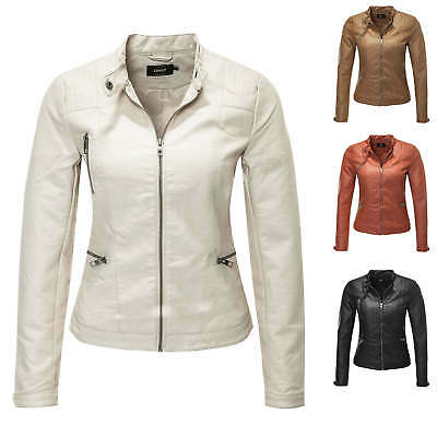 Only Women's Jacket Coat Spring Summer Biker Leather Casual Color Mix NEW