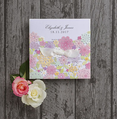 Personalised Spring Flowers Pastel Laser Cut Wedding Day Invitations Invites