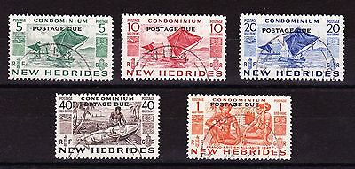 New Hebrides 1953 Postage Dues Set Sg D11-D15 Fine Used.