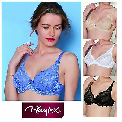 Playtex Affinity Flower Elegance Stretch Lace Bra 5832 Black White Nude Blue Red