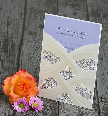 Personalised Ivory & Gold Shimmer Laser Cut Sleeve Wedding Invitations Invites