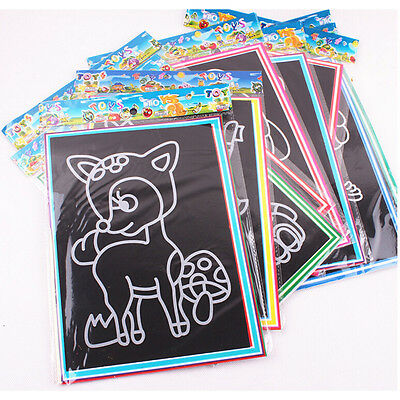 1/6/10Pcs Novelty Scratch Cardboard DIY Draw Sketch Notes Memo Pad for Kid WB