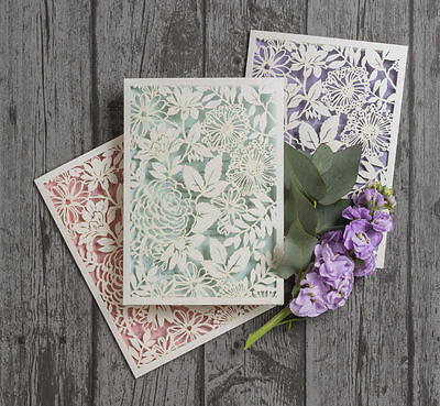 Personalised Laser Cut Floral Wedding Day Evening Invitations Invites Any Colour