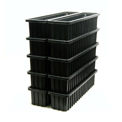 (Lot of 10) Metro Olympic TB 94650 ESD-Safe Black Conductive Tote Bin Boxes
