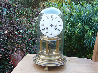 """Antique Japy Freres Paris Brass Anniversary Clock With Glass Dome. 11"""" Tall"""