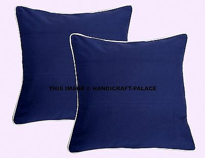 2 PCs Blue Solid Color Indian Pillow Cover Home Sofa Cushion Case Office Decor