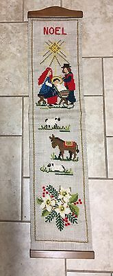 "Vtg Christmas Handcrafted Banner Wall Hanging Religious 36"" Decoration"
