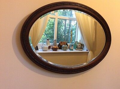 A Superb Oak Carved Large Oval Edwardian Mirror Antique Bevelled Vintage