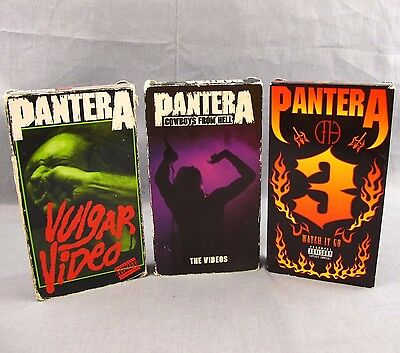 Pantera VHS Lot of 3 Videos Vulgar Cowboys From Hell Watch It Go Collection