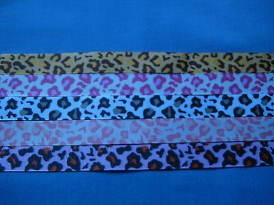 """5 - 5/8"""" Grosgrain  Ribbons -Leopard Prints - 12 Inches @"""