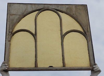 Antique Arched Dome Amber Stained Glass Window Sash Old Shabby Vtg Chic 2366-16