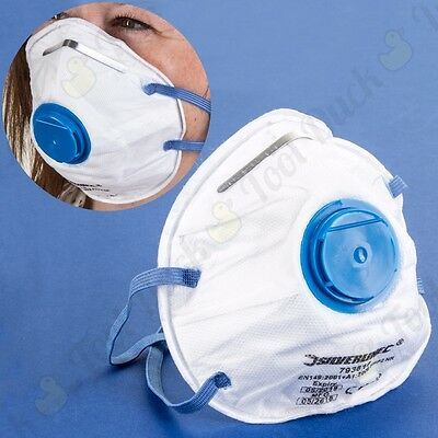 10 x QUALITY FFP2 SILVERLINE MOULDED & VALVED FACE / DUST MASKS Disposable PPE