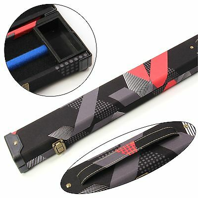 Contemporary 80s Red & Black 3/4 Pool Snooker Cue Case - 116cm Max