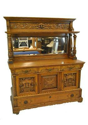Antique Quarter Sawn Oak Sideboard Buffet With Carved Faces & Mirror
