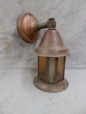 Vtg Arts Crafts Copper porch Sconce Light Fixture Amber Stained Glass 2370-16