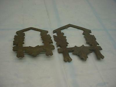 Pair of German Black Forest Cuckoo CooCoo Clock Oak Leaf Front Faceplate  D274b