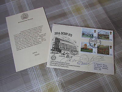 200th DERBY Horse Racing Multi Signed FDC Willie Carson Pat Eddery & Piggott
