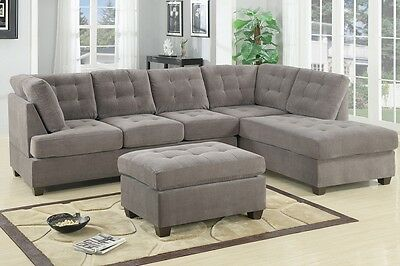 2pc Charcoal Waffle Suede Sectional Sofa Couch Cocktail Chaise Furniture