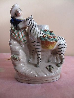 Rare Antique 19th Staffordshire  Figure Girl with Zebra  Carrying  Cobalt Blue