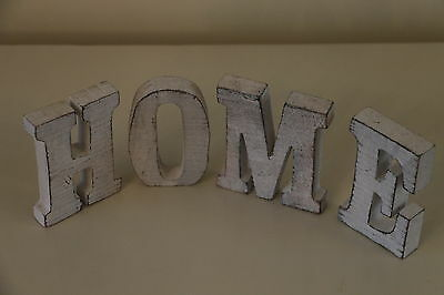 """Lovely  Shabby Chic Cream Wooden """"HOME SIGN """" Four Individual Letters"""