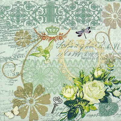 4x Paper Napkins for Decoupage Party, Decopatch Craft - Cabaret Green