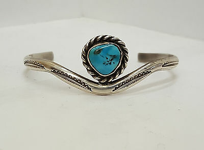 Nice Old Vintage Silver Blue Turquoise Native American Indian Bracelet Cuff!!!!!