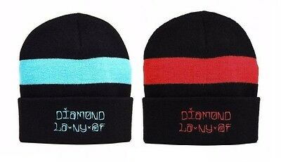 Diamond Supply Co. CITIES FOLD Black Diamond Blue Black Red Cap Knit Fold  Beanie 974964b87281