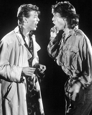 Singers DAVID BOWIE & MICK JAGGER Glossy 8x10 Photo Rock Print Poster