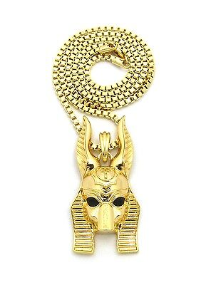 "Egyptian God Anubis Head Pendant 24"" Various Chain Hip Hop Fashion Necklace"