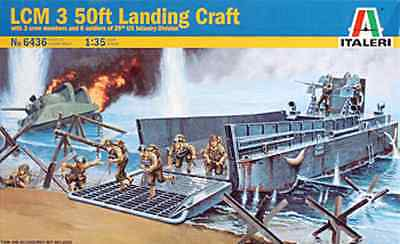 Italeri 1/35 USS LCM 3 50' Landing Craft with Figures Modelling Kit 6436