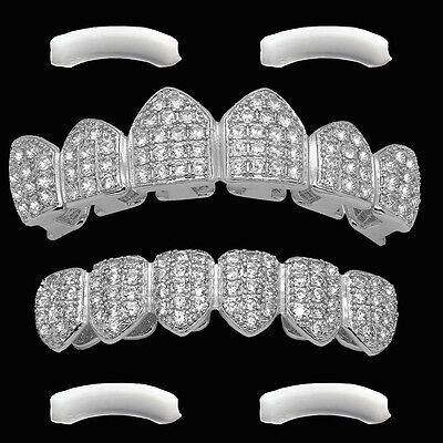 SILVER Plated High Quality CZ Top & Bottom GRILLZ Mouth Teeth Grills