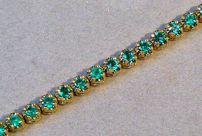 """""""EMERALD"""" 18K YELLOW GOLD over STERLING SILVER BRACELET - 8 3/8""""  - NEW OLD STCK"""