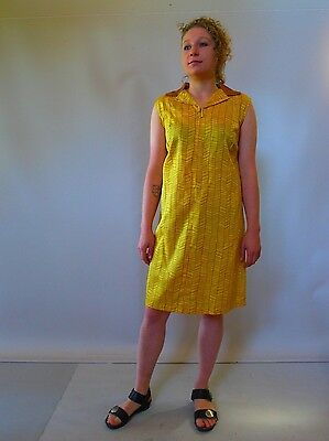 Vintage retro true 60s unused 14 - 16 L  gold yellow cotton mod shift dress NOS